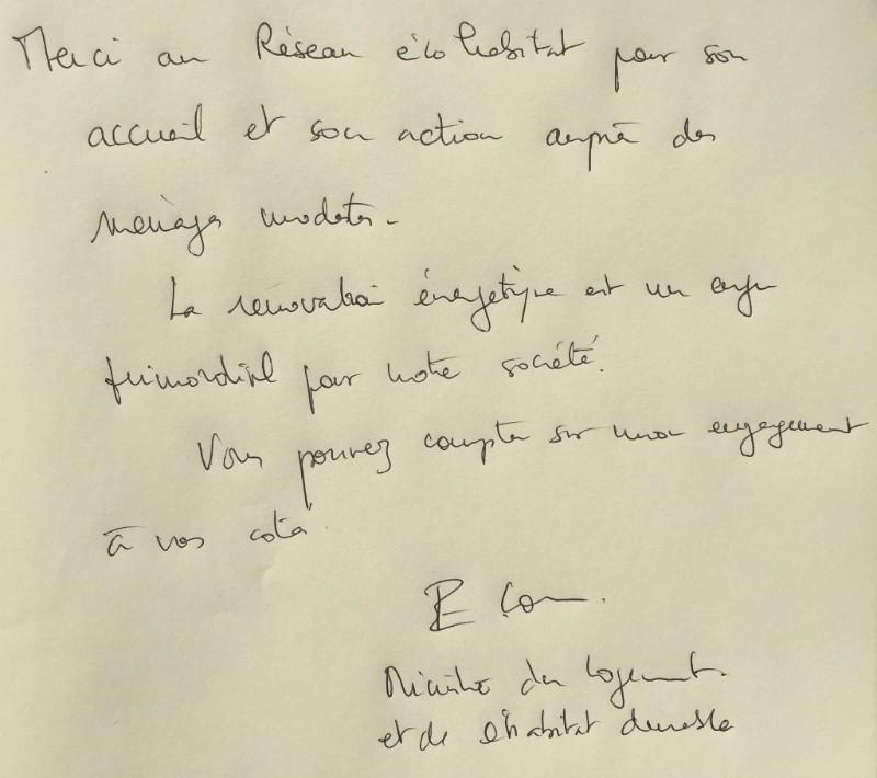 Lettre de la Ministre